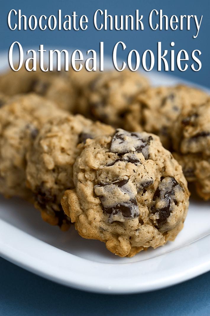Chocolate Chunk Cherry Oatmeal Cookies