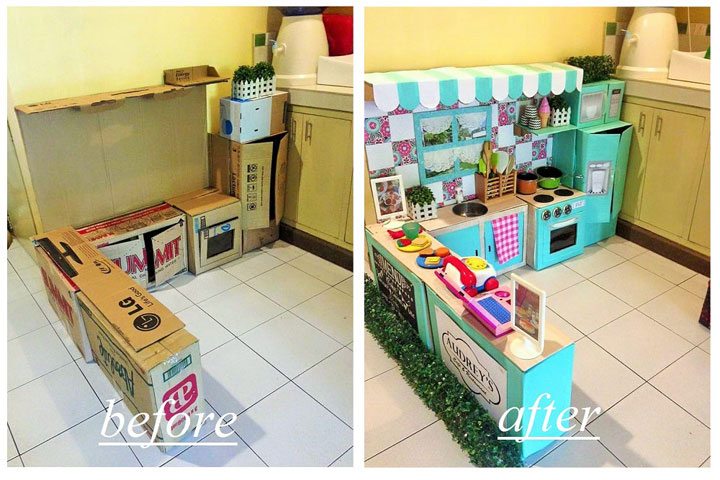 Filipina Mom Creates a Mini Play Kitchen for Her Toddler