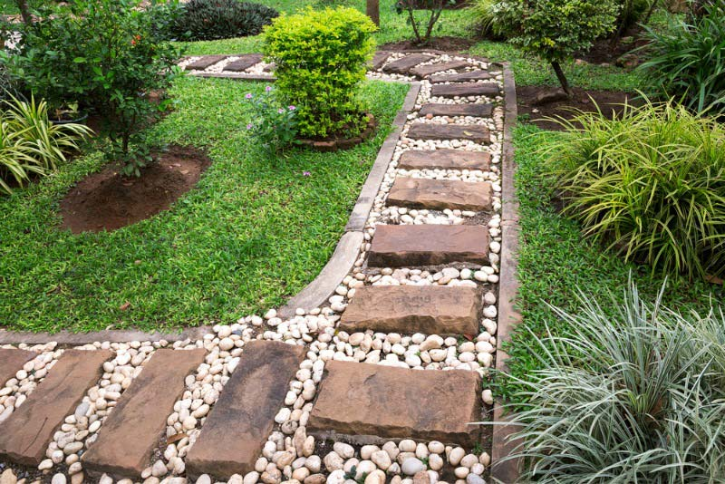 Walkways and garden path quiet corner for Landscaping ideas stone path