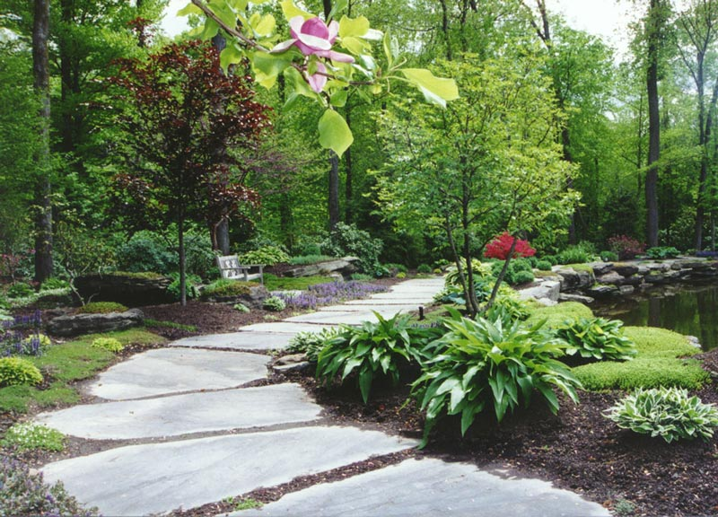 Walkways and garden path quiet corner - Garden pathway design ideas with some natural stones trails ...