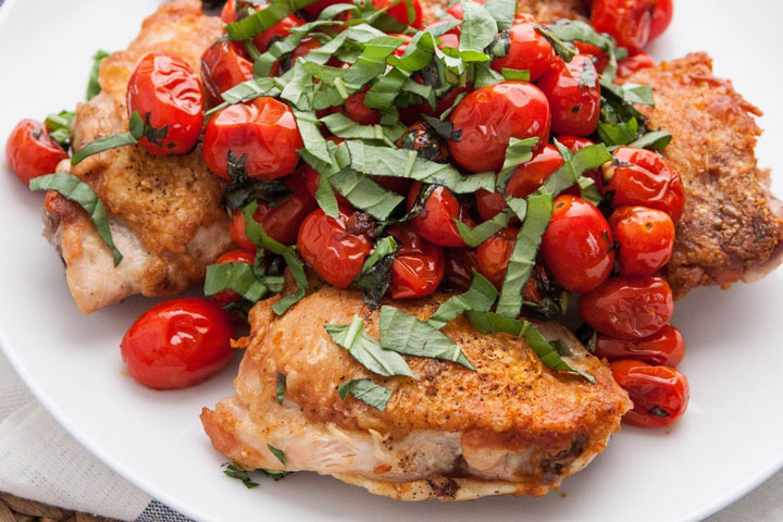 Chicken Thighs with Blistered Tomatoes and Basil