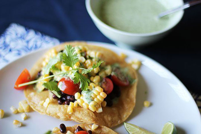 Corn, Tomato & Black Bean Tostadas with Creamy Cilantro Dressing