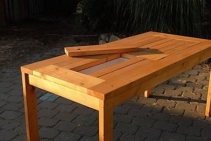 Diy patio table with built in beer cooler quiet corner for Patio table with built in cooler