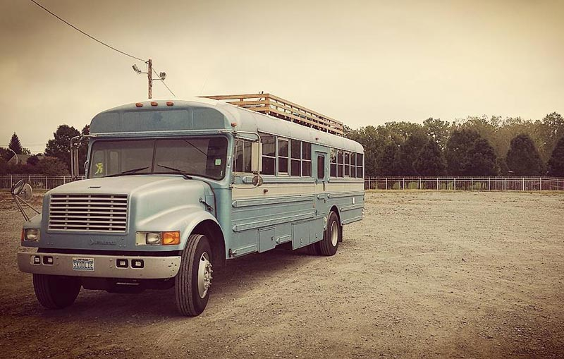 Dad And Son Convert Old School Bus Into A Tiny Dream Home
