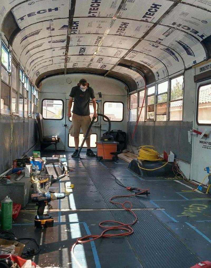 Dad And Son Convert Old School Bus Into A Tiny Dream Home 3