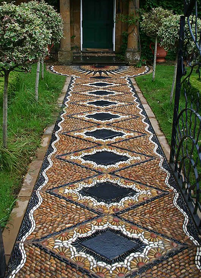 25 Garden Pathway Pebble Mosaic Ideas For Your Home