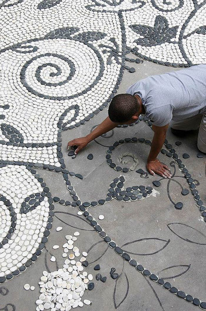 Garden Pathway Pebble Mosaic Ideas
