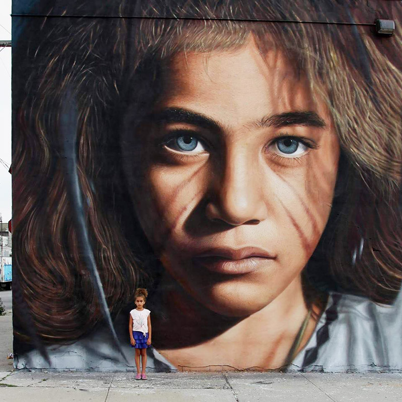 Hyperrealistic Street Art Portraits by Jorit AGOch (5)