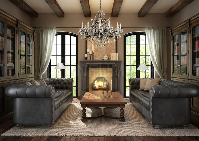 Quiet Corner Living Room Designs With Exposed Beams