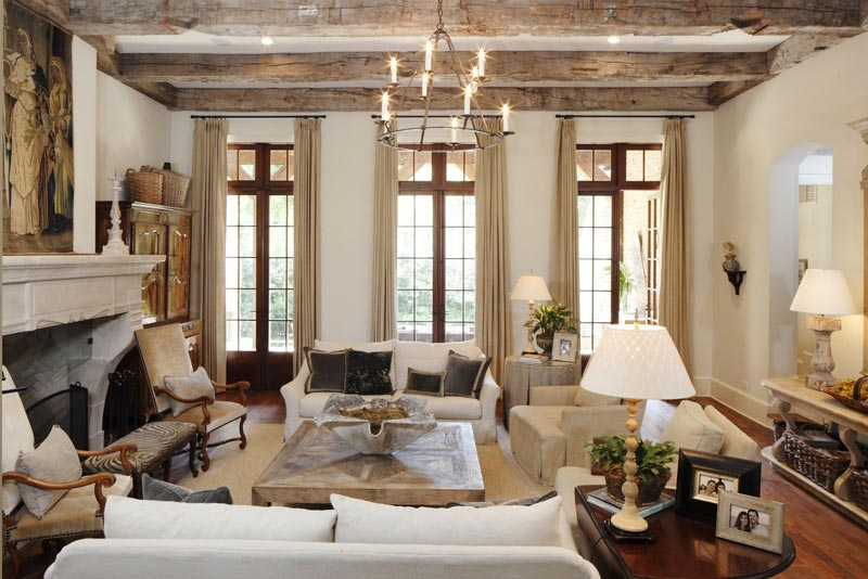 Living Room Designs With Exposed Beams (9)