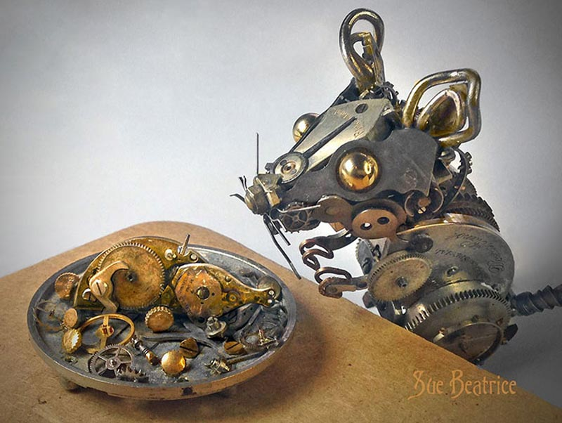 Old Watch Parts Recycled Into Steampunk Sculptures (6)