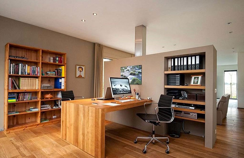Small home office interior design quiet corner Corner home office design ideas