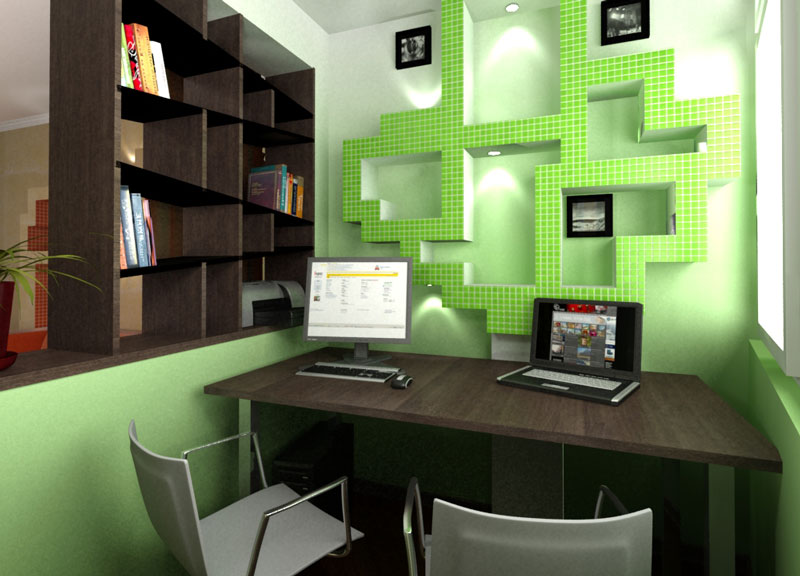 Small home office interior design quiet corner for Green office interior design