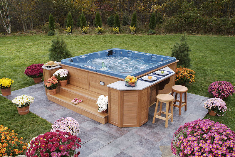 How to design your portable hot tub quiet corner for Hot tub deck designs plans