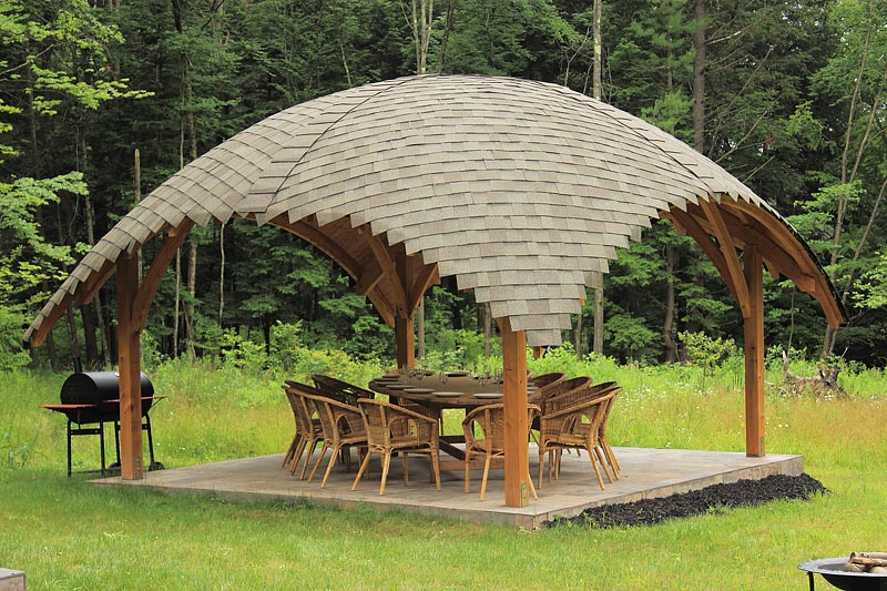 Create Your Own By Commissioning A Tiki Hut Style Gazebo For Backyard E Mimic The Thatched Roof With Textured Layers Of Wood
