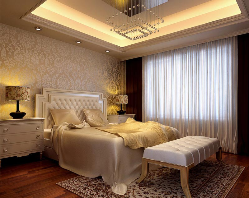 Beautiful wallpaper designs for bedroom quiet corner for Bed wallpaper design