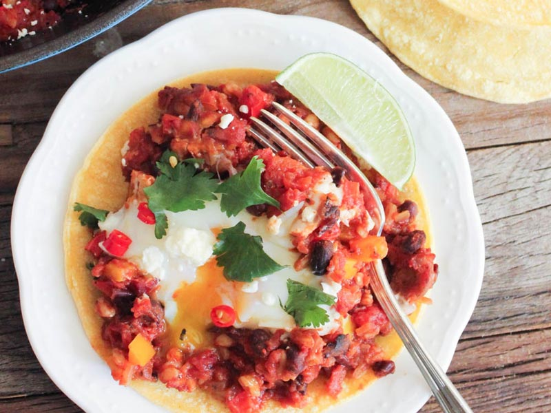 Fiesta Baked Eggs with Farro and Black Beans