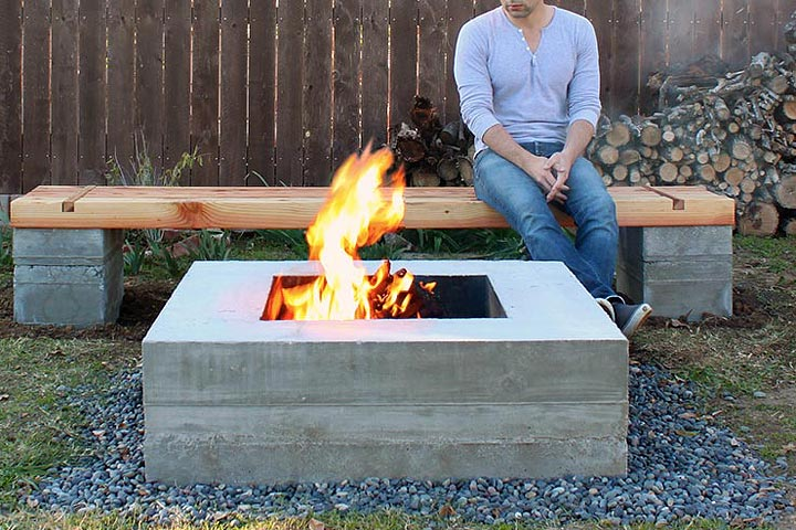 DIY Outdoor Concrete Bench