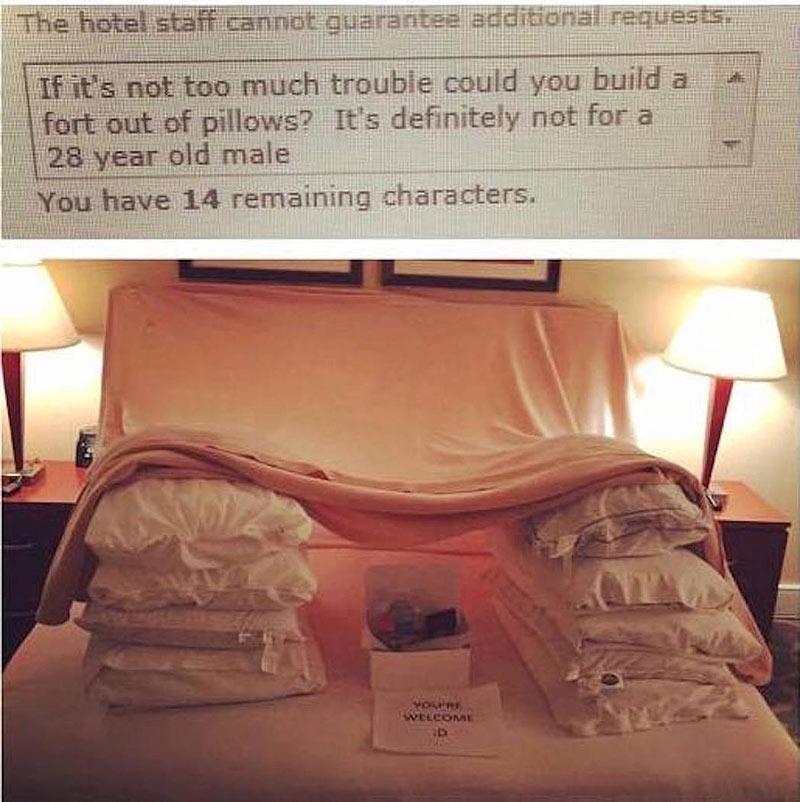Hotel staff welcome businessman's bizarre requests