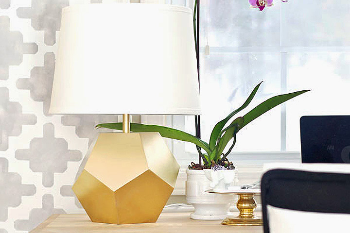 DIY – Gold Geometric Lamp