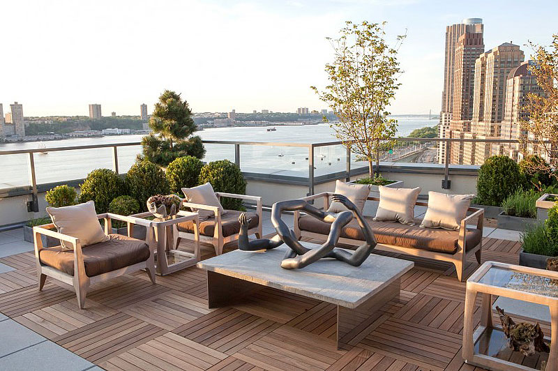 Wood Deck Design Ideas large wood deck surrounded by pools and gardens Balcony Deck Design Ideas
