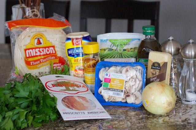 Prosciutto, Onion, and Mushroom Quesadillas