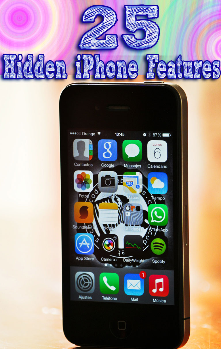 25 Hidden iPhone Features. Each of the tips that follow below, however, are completely hidden. There is no indication that these functions exist in iOS, and we guarantee that most users don't know about them.