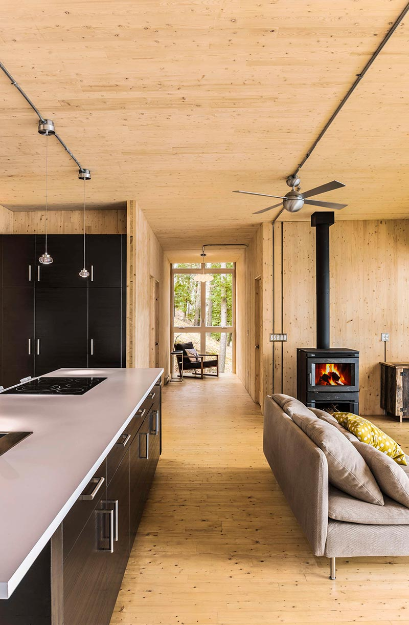 Beautiful Prefab Cabin in Quebec Made Out of Wood Panels