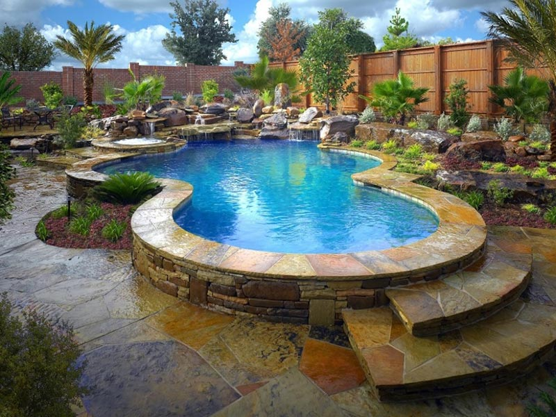 Free form pool designs ideas quiet corner - Design of swimming pool ...