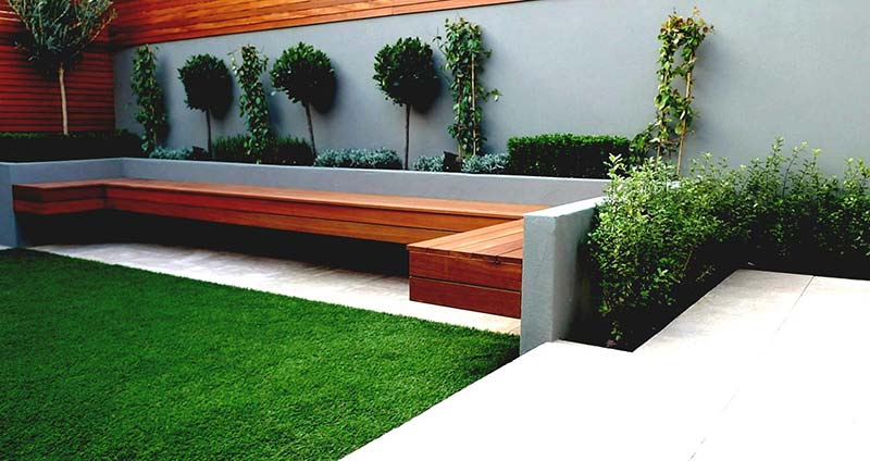 Landscape design ideas with modern seating area quiet corner for Garden designs seating areas