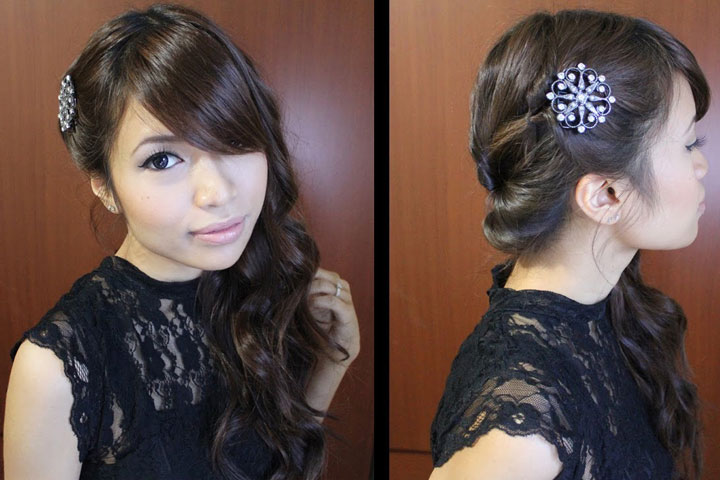 Looped Side Swept Prom Hairstyle Tutorial