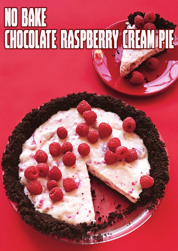 No Bake Chocolate Raspberry Cream Pie