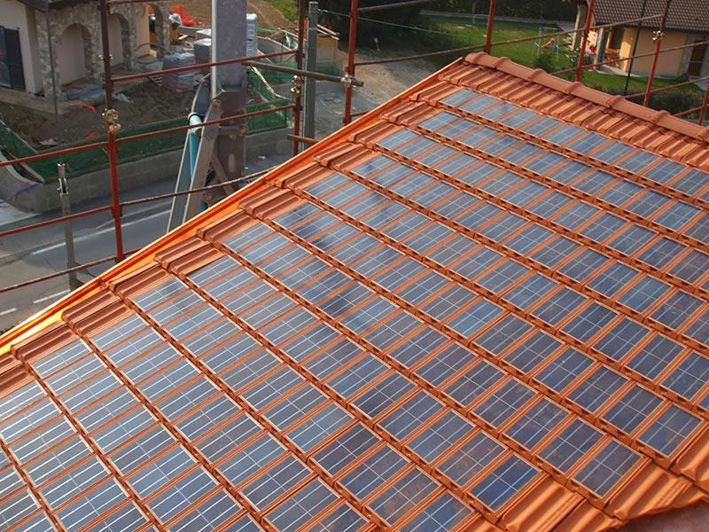 Solar roof tiles quiet corner for Panel homes prices