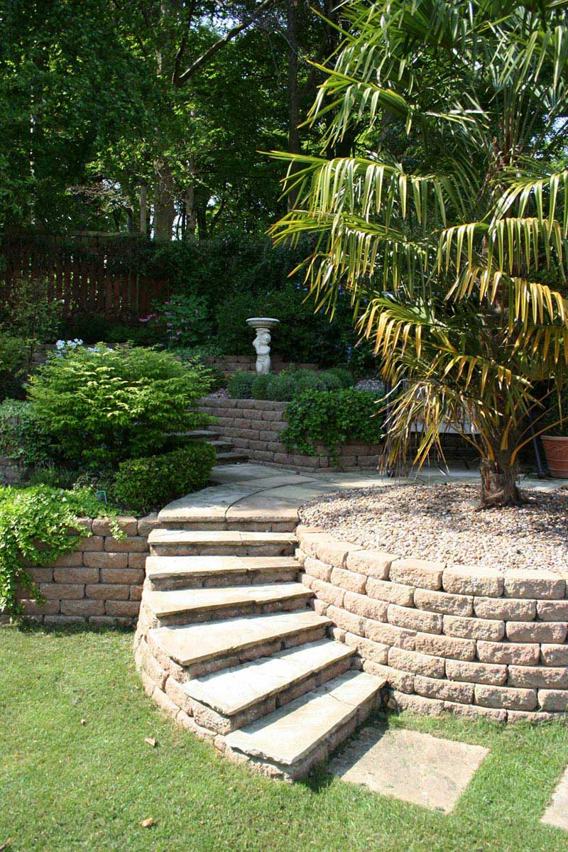 Sloping garden design ideas quiet corner for Garden designs for triangular gardens