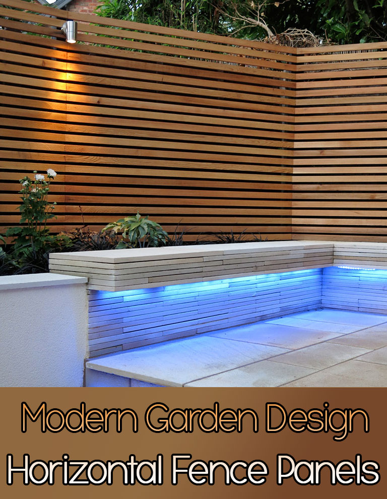 Quiet corner horizontal fence panels modern garden design for Garden fence features