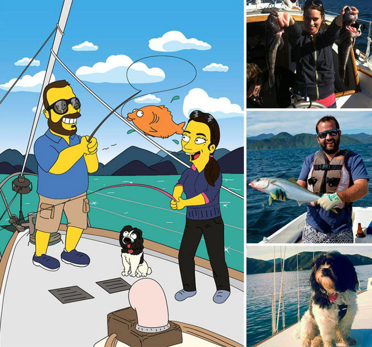 Artist transforms real-life photos into Simpsons caricatures
