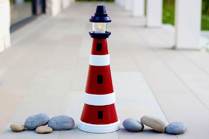 DIY - How to Make a Clay Pot Lighthouse