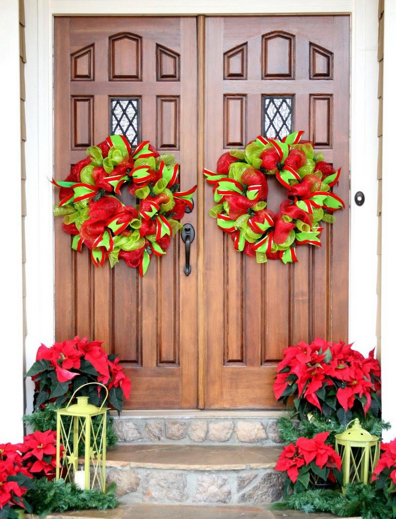 Christmas front door decorations quiet corner for Christmas holiday ideas
