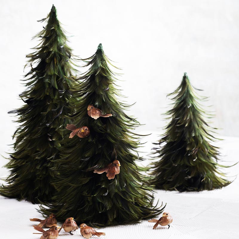 Christmas Trees With Feathers