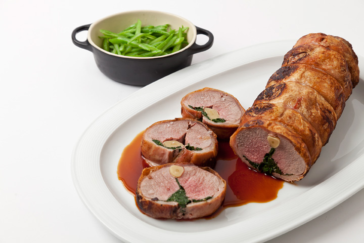 Christmas Dinner Ideas - Stuffed Lamb With Buttered Beans