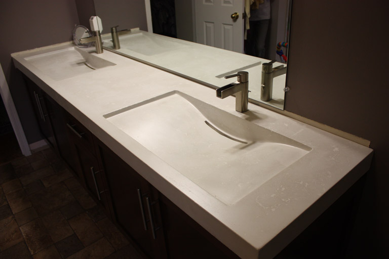 Great ideas for bathroom double sinks quiet corner for Double sink countertop bathroom