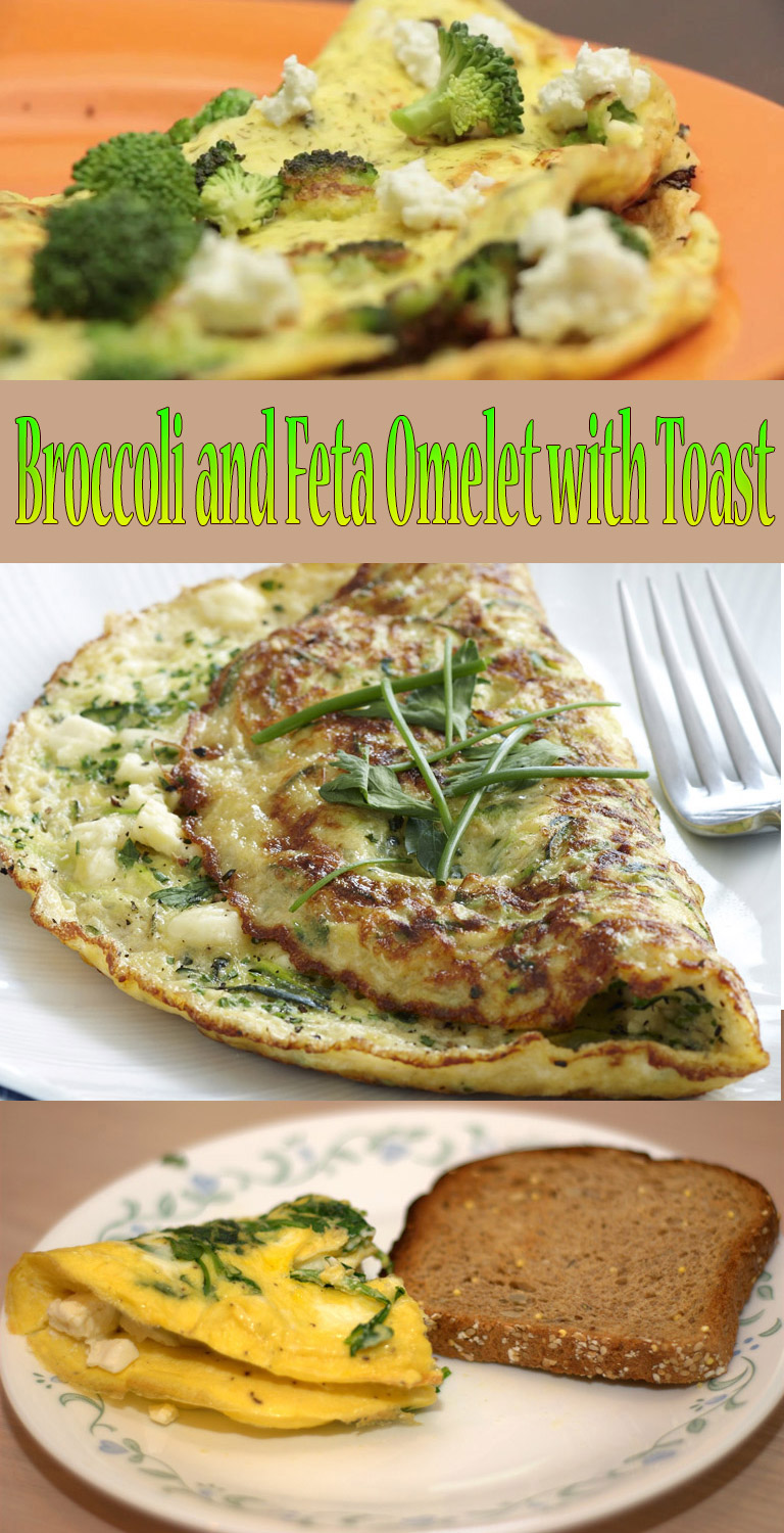 Broccoli and Feta Omelet with Toast