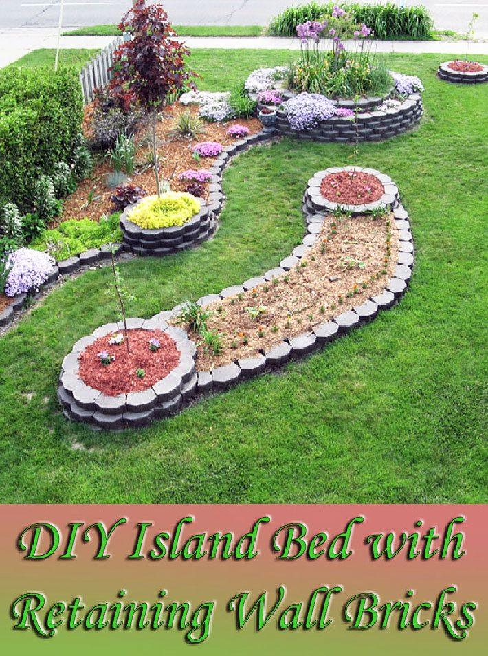 DIY – Island Bed with Retaining Wall Bricks
