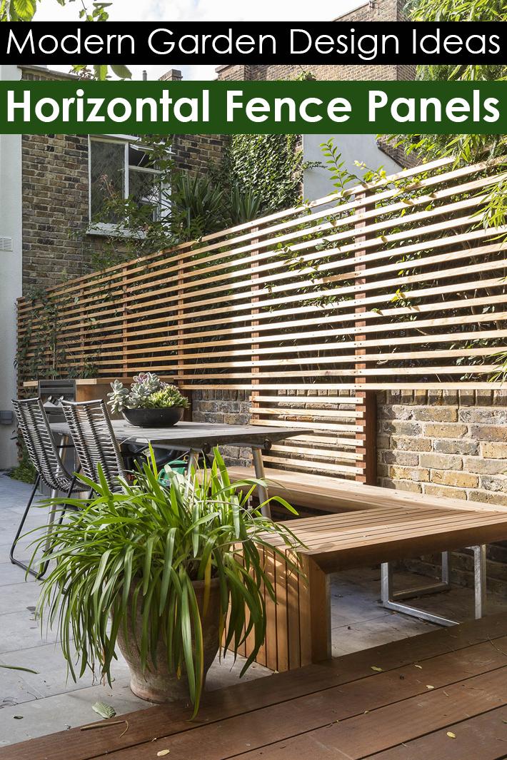 Quiet Corner Horizontal Fence Panels Modern Garden Design Ideas